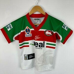 VINTAGE Sydney Rabbitohs NRL Jersey 4-6 Years Multicoloured Short Sleeve V-Neck