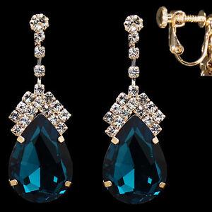 CLIP ON blue CRYSTAL teardrop DROP EARRINGS gold pltd GLASS rhinestone CLIPS