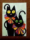 LWick Original Art ACEO Cat A Day 217 Animal black cat Halloween bows