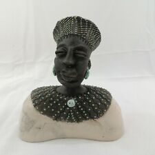 Small South African Traditional Zulu Man Bust Sculpture by Zulu Lulu