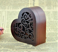 "Play ""Castle in the Sky"" Wooden Heart Shape Music Box With Sankyo Movement"