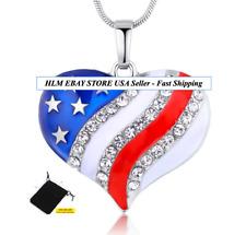 Trump USA Flag Heart Crystal Rhinestone Chain Pendant Necklace Charm