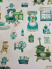 Vtg 60s TWO ROLLS of Wallpaper NOVELTY KITCHEN RETRO KITSCH Blues Greens Stove