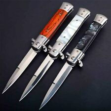 "9"" Spring Assisted Knife Stiletto Milano Tactical Wood Pocket Folding kitchen"
