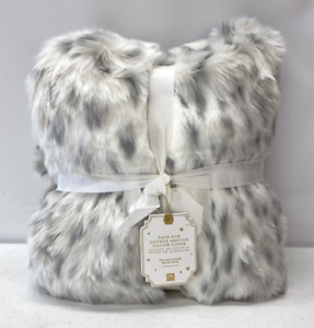 NEW Pottery Barn TEEN Faux Fur Lounge Around Pillow Cover~Gray Leopard