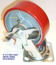 CASTER WHEEL( 6 X 2 ) INCH POLYCAST SWIVEL & BRAKES HEAVY DUTY 300KG RATING- NEW