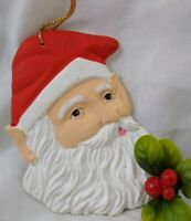 """Vintage SANTA Christmas Ornament hand painted St Nick Bisque 3 3/4"""" tall"""