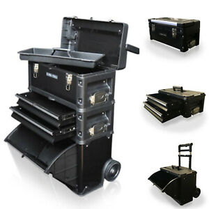 317 US PRO Tools Black Mobile Rolling Chest Trolley Cart cabinet Wheels Tool Box