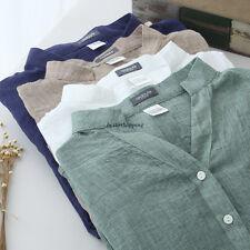 Korean Women Cotton Linen Button Down Loose Casual Lightweight Shirt Tops Blouse