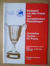 European Cup Winners Cup FINAL 1984- JUVENTUS v PORTO, 16 May
