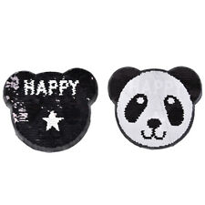 panda reversible change color sequins sew on patches for clothes diy crafts LE
