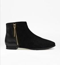 French Connection Black Devon Leder Flache Stiefeletten Smart Kleid Schuhe 8 41