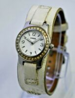 Women's FOSSIL Cuff Bracelet Watch, White Leather, Crystal Accents, Steel WB4078