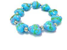 "Turquoise Blue Ceramic Porcelain Heart Stretch Bracelet 7.5"" New w/ Gift Bag"