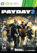 NEW Payday 2 Xbox 360 FAST FREE SHIPPING pay day ii co-op overkill 505 games