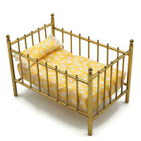 Vintage Miniature Dollhouse  Brass Crib With Yellow Floral Bedding
