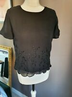 LAURA ASHLEY SILK BLACK SIZE 10 TOP WITH SCALLOPED EDGES AND EMBROIDERED FLOWER