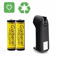 2PCS 1200mAH 14500 3.7V BRC Lithium Rechargeable Li-ion Battery+ Smart Charger
