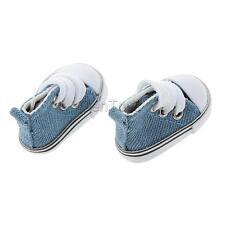 4.8cm Round Toe Laceup Sneakers Canvas Shoes Fits 1/6 BJD Dolls Denim Blue