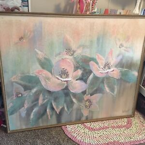 gorgeous 5x4 foot vtg Lee Reynolds textured pastel flower painting
