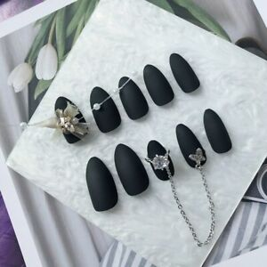 Fake Nails Gothic Matte Black with 3D Rhinestones Chain Stiletto Press On Nails