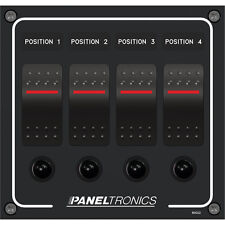 Paneltronics Waterproof Panel - DC 4-Pos Illum. Rocker Switch & Circuit Breaker