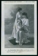 advertising lottery Breast feeding nude woman original old 1910s postcard