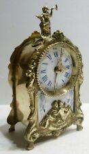 Magnifique Petite PENDULE Réveil en Bronze Art Nouveau c.1900 Cartel Horloge