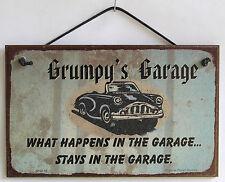 Grumpy's Garage Sign Happens Stays Man Cave Classic Chevy Shop Car Workshop Beer