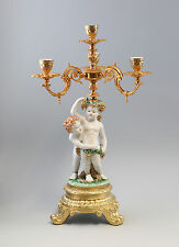 Paar Porzellan Barock Leuchter Kerzenständer mit Putten prunkvoll neu 9987239