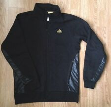 Retro RARE ADIDAS Black Gold Sports Grunge Tuta Da Ginnastica Top Giacca UK S
