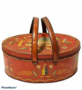 Vintage Red Oval Metal Tin Handles Dutch Country Print Sewing Picnic Basket