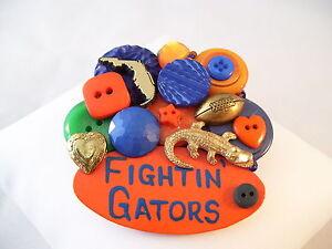 UF Pin Brooch Vintage Buttons Orange Blue University of Florida Fightin' Gators!