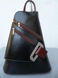 Damen Rucksack Leder Bag Pack Italy Flugbegleiter Vera Pelle schwarz-braun Neu