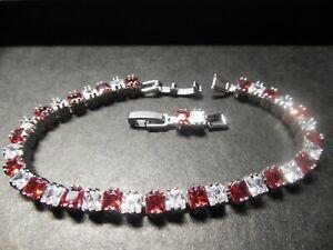 Lovely .925 Sterling Silver Garnet & Cubic Zirconia Gemstone Tennis Bracelet