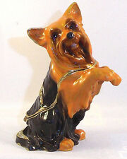 Yorkie Dog Trinket / Jewelry Box Pewter Bejeweled Treasures