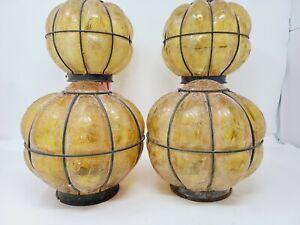 VTG LOT 4 SHADES LAMP MURANO CAGED CRACKLE GLASS HANGING LIGHT CHANDELIER SUPERB