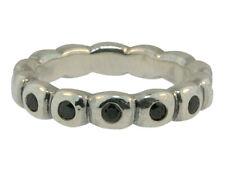 Genuine Pandora Sterling Silver Black Spinel Band/Ring (Size M) 3.5mm Wide