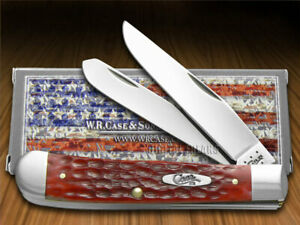 Case xx Trapper Knife Jigged Dark Red Bone Handle Stainless Pocket Knives 00646
