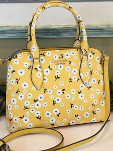 KATE SPADE DARCY FLEURTT SMALL SATCHEL CROSSBODY BAG YELLOW LEATHER WHITE FLORAL