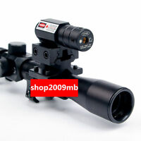 US4x20 Air Gun Rifle Optics Scope +20mm Rail Mounts +Red Laser Sight For Hunting