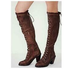 Elegant Women Cuban Mid Heel Zipper Faux Suede Over Knee Lace Up High Thigh Boot