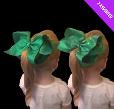 1 Large Green Diamante Studs St Patricks Day Fancy Dress Party Clip on Hair Bow