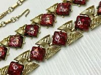 Vintage Signed Coro Demi Parure Thermoset Confetti Deep Red Gold Tone Necklace