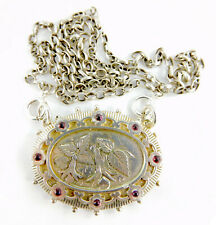 "Brooch Conversion Garnet Set 22"" Belcher Ooak Antique & Vintage Silver Locket Bk"