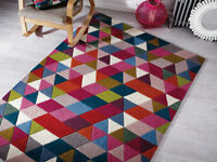 Modern 100% Wool Hand Tufted Quality Rug, Multi Colours, Geometric Design Carpet