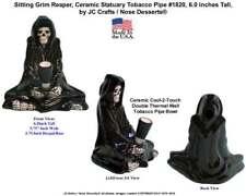 Grim Reaper Sitting lotus Human Skull 1820 Ceramic Glass Tobacco Pipe from USA