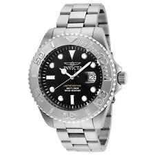 INVICTA MEN'S PRO DIVER STEEL BRACELET & CASE QUARTZ BLACK DIAL WATCH 24622