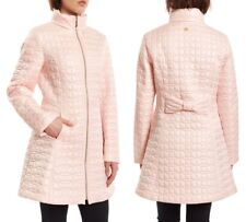 """KATE SPADE A-Line Bow-Quilt Coat 33"""" Long, Bow at Back Orchid Pink sz L  $278"""