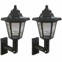 2x Solar Garden Lantern – Outdoor LED Wall Light Outside Coach Lamp Traditional